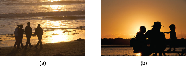 Photograph A shows four people walking along the beach with the sun setting in the distance. Photograph B shows a close relationship between three people by the water.