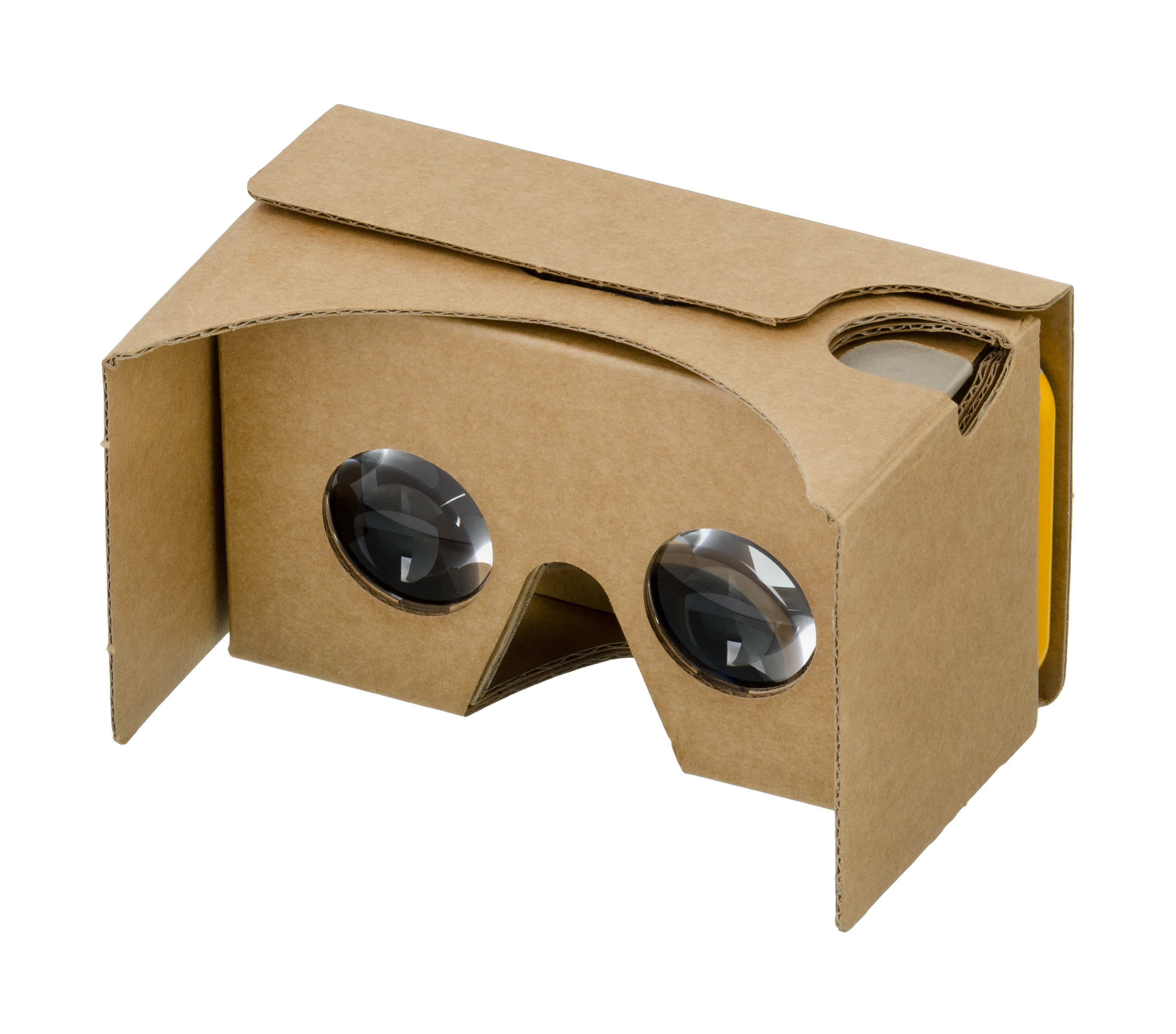 Photograph of a Google Cardboard viewer, a small cardboard box with two eye holes and lens that let the viewer look inside of the box to see their smartphone.