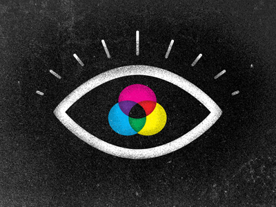 Poster depicting a drawing of an eye with circles of cyan, magenta, and yellow.