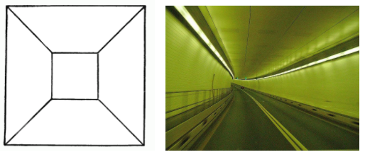 The drawing on the left shows a large square with a smaller square on the inside and lines connecting the corners of the inner and outer square. The secong image shows the inside of a tunnel.