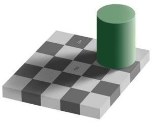 "A checkerboard with a large green cylinder on top of the gameboard, casting a shadow on the board. The shadow makes the pieces appear darker, so much so that the lighter ""B"" piece is actually the same color as the darker ""A"" piece."