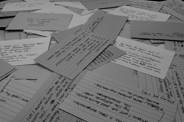 Pile of flashcards.