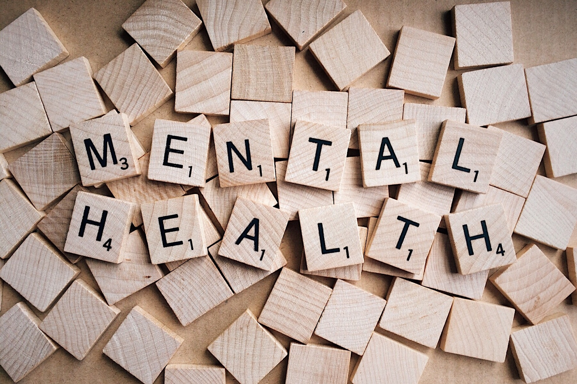 "Scrabble tiles spelling out ""Mental Health"""
