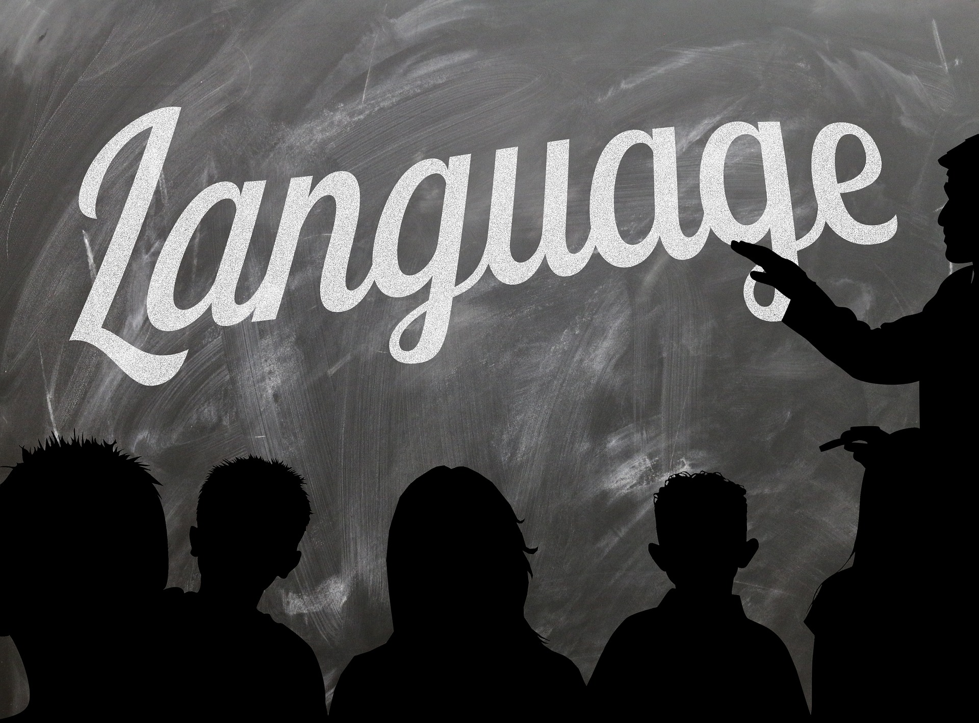 The word language written on the chalkboard with a silhouette of children in front of the chalkboard.