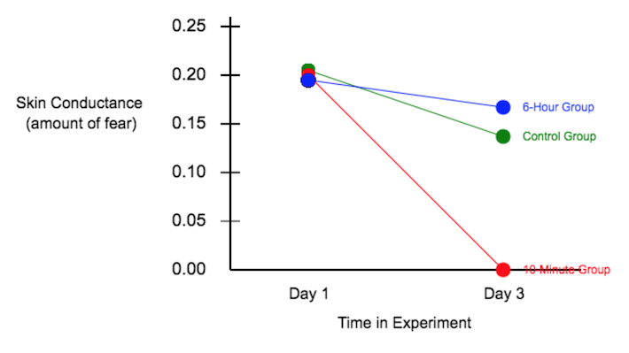 Results showing skin conductance (the amount of fear) on the y axis, and the Days of the experiment on the x-axis. Initially, all three groups (control group reinstatment plus long delay, control group with no reinstatement, and the treatment group with reinstatement and a short delay), all start with high fear scores. On day 3, the control group and the control group with reinstatement have only gone down slightly in their fear response, while come day 3, the treatment group's response has entirely disappeared.