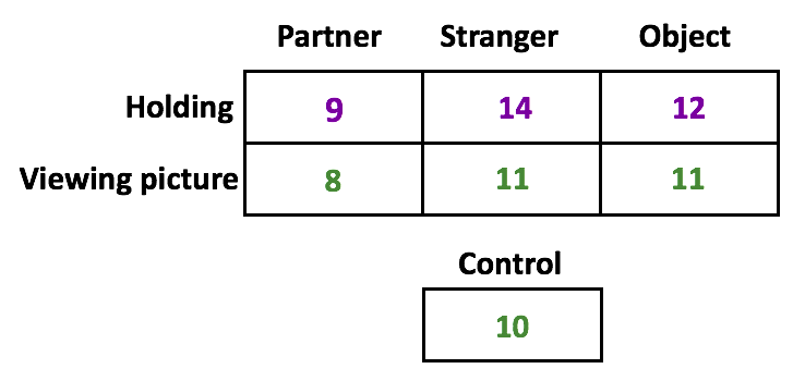 The results from one person's pleasantness ratings. When holding the hand of a partner, she scored a 9. A stranger, 14, and an object, 12. When viewing her partner's picture, an 8, a stranger an 11, and object 11. The control was a 10.