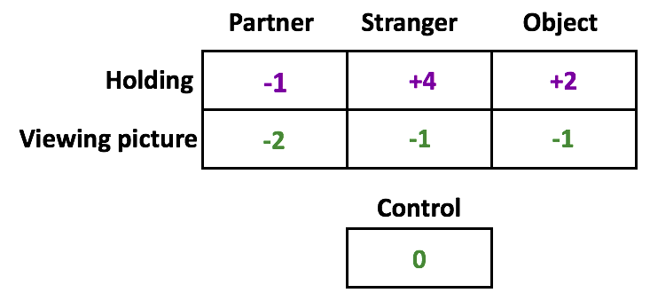 A participant's ratings as compared to the original control. When holding her partner's hand, the score is -1. It is +4 for a stranger and +2 for an object. It is -2 when viewing her partner's picture, -1 when looking at a stranger and -1 when looking at an object.
