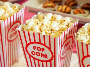 Popcorn in a popcorn holder.