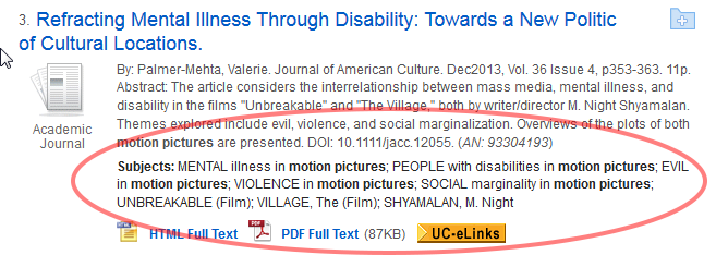 "Screenshot of a search result in an academic database. The resulting article is titled ""Refracting Mental Illness Through Disability: Towards a New Politic of Cultural Locations. In the screenshot the Subjects of the article are highlighted: Mental illness in motion pictures; people with disabilities in motion pictures; evil in motion pictures; violence in motion pictures, etc."