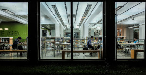 Looking inside library windows at night
