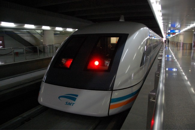 The Shanghai Maglev train.