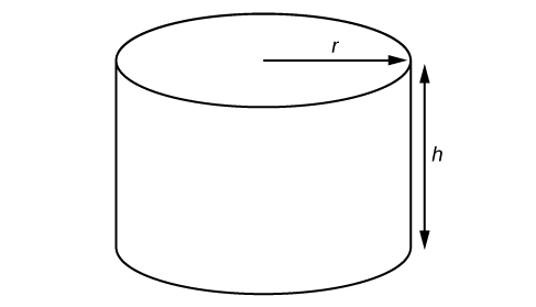 A right circular cylinder with an arrow extending from the center of the top circle outward to the edge, labeled: r. Another arrow beside the image going from top to bottom, labeled: h.