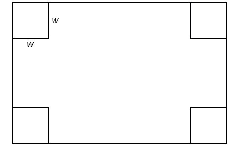 Diagram of a rectangle with four squares at the corners.