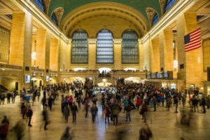 Photo shows a view from inside Grand Central Station in New York City.
