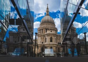 Photo shows an external view of St. Paul's Cathedral in London, England.