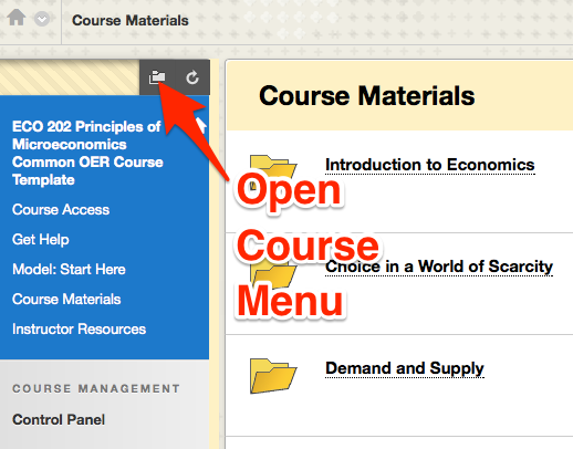 A Blackboard page with label showing Course Menu button