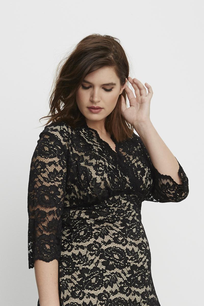 Kiyonna Boudoir Lace Dress Black plus size