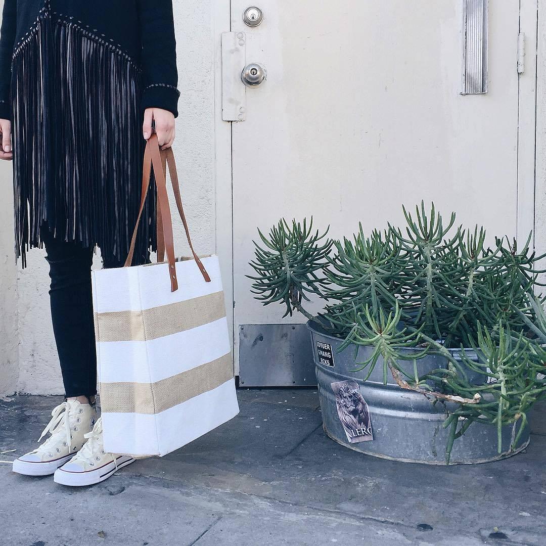 Apolis white stripe tote