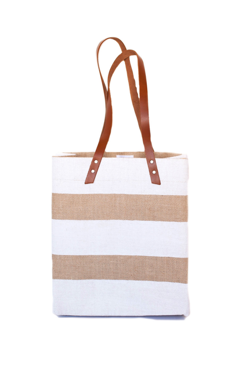 Apolis Nautical Stripe Tote White