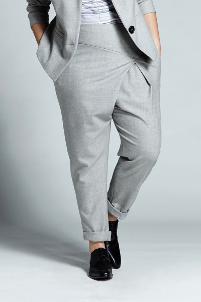 shegul plus size grey wrap front pant coverstory