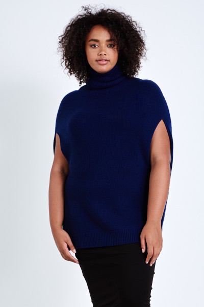 coverstory plus size universal standard hudson knit cape deep sapphire