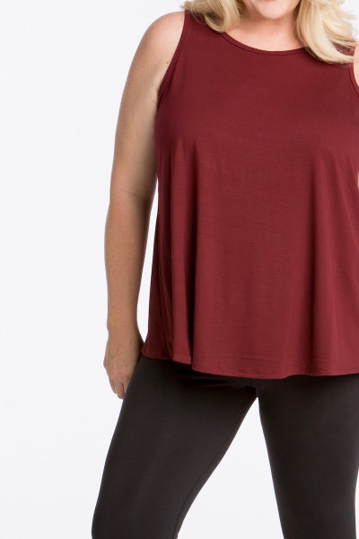 lola getts tulip back tank plus size maroon Coverstory