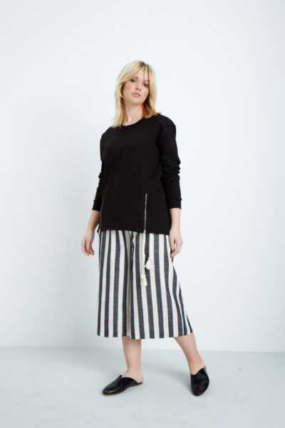 Elvi cropped Striped wide leg pants