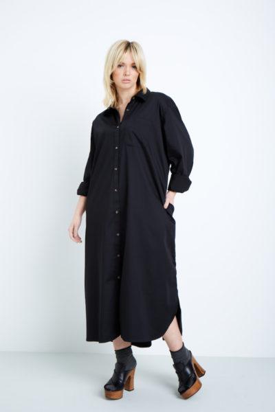 universal standard georgia shirtdress black coverstorynyc