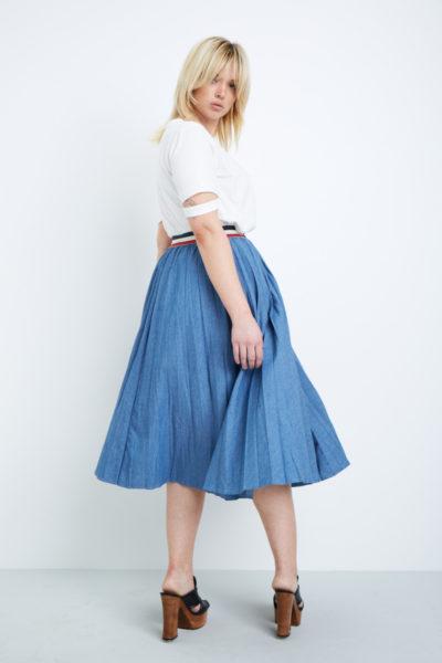 Elvi denim pleated skirt plus size coverstory