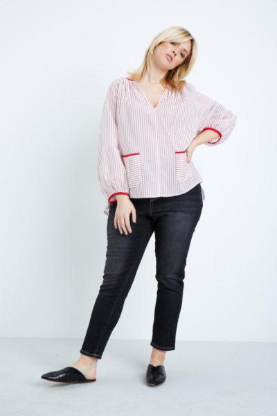 Shegul Red White Striped Cotton Blouse