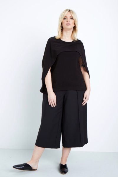 MYNT1792 wide leg cropped trousers plus size black coverstorynyc