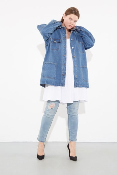 oak OVERSIZED CHORE JACKET washed blue plus size