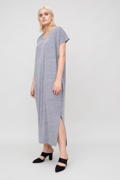 OAK Side Pleat Box Maxi Dress heather grey plus size
