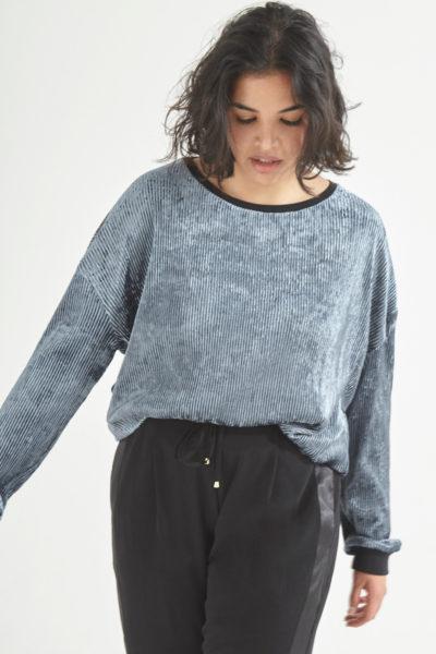 Elvi ribbed velvet sweater plus size