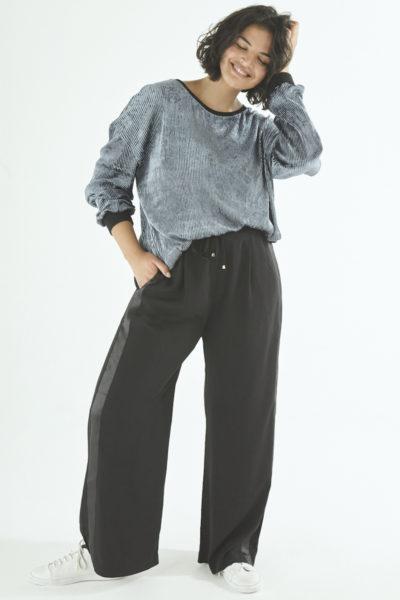 Elvi wide leg side stripe pants black plus size CoverstoryNYC