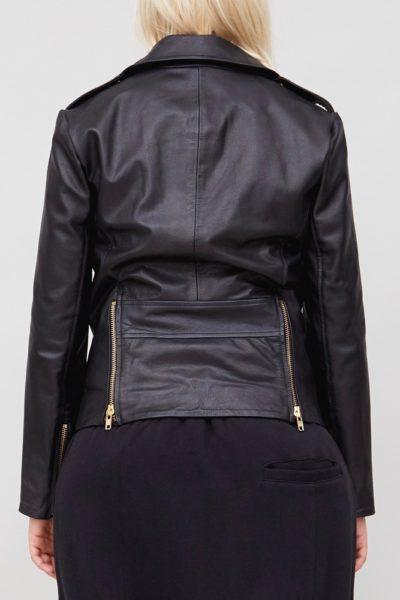 OAk NY rebel biker jacket black leather plus size