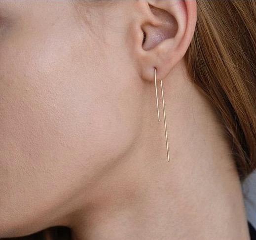 864 bar hook earrings 14K gold