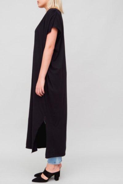 OAK Side Pleat Box Maxi Dress black plus size