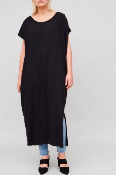 OAK Side Pleat Box Maxi Dress plus size black CoverstoryNYC