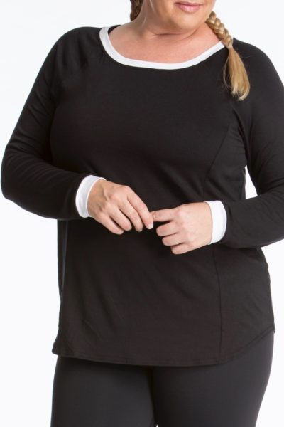 lola getts long sleeves top plus size activewear black white