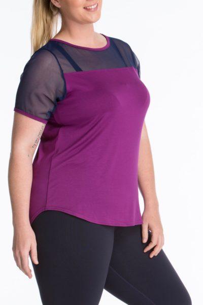 Lola getts short sleeves mesh trim tee plus size activewear plum navy coverstory