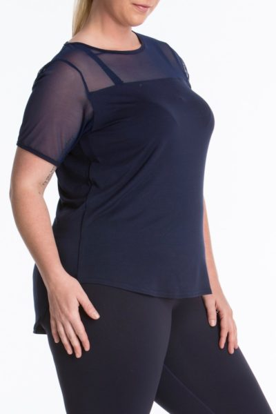 Lola Getts Short Sleeves Mesh Trim Tee plus size activewear Navy