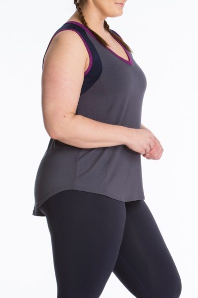 Lola Getts Color Block Muscle Tee Charcoal Navy plus size activewear