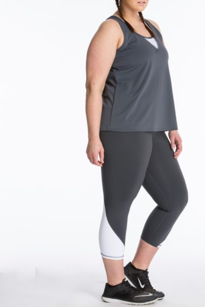 Lola Getts Easy Tank plus size activewear charcoal white CoverstoryNYC