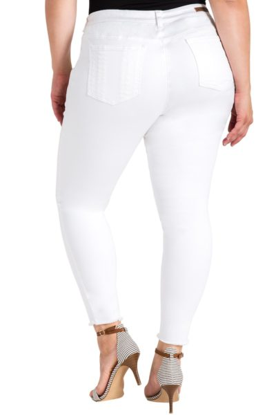 Standard & Practices Virginia Released Hem Skinny Plus size jeans White Coverstory