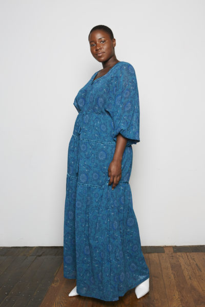 Standards & Practices Maxine Maxi Dress Plus size teal paisley floral dress CoverstoryNYC