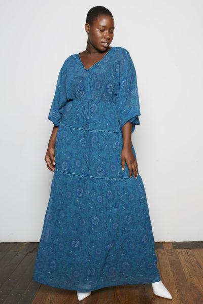 Standards & Practices Maxine Maxi Dress Plus size teal paisley floral dress