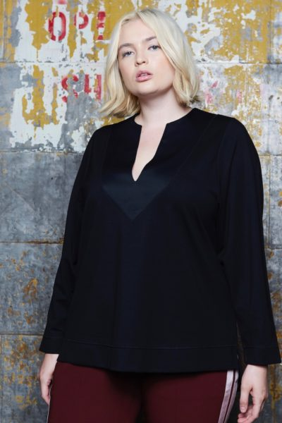 Shegul Isabelle Punto Di Roma Sweatshirt black plus size CoverstoryNYC