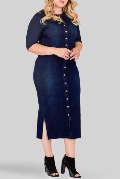 Standards & Practices Elain Denim Midi Pencil Skirt plus size COVERSTORYNYC