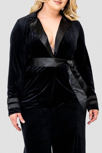 Standards & Practices Lottie Velvet & Satin blazer plus size black